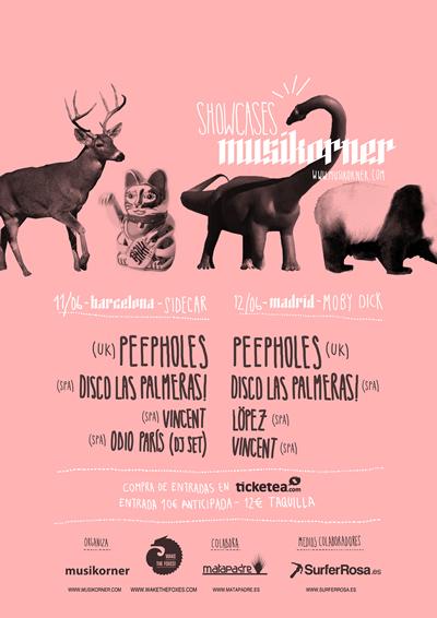 Sorteamos entradas para los Showcases Musikorner (BCN sábado y Madrid domingo), Peepholes, Disco las Palmeras!…