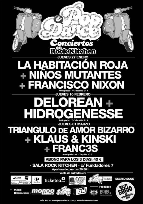 Primer ciclo de conciertos del Pop & Dance Club con LHR, Niños Mutantes, Fran Nixon, Delorean, Hidrogenesse, TAB y Klaus & Kinski
