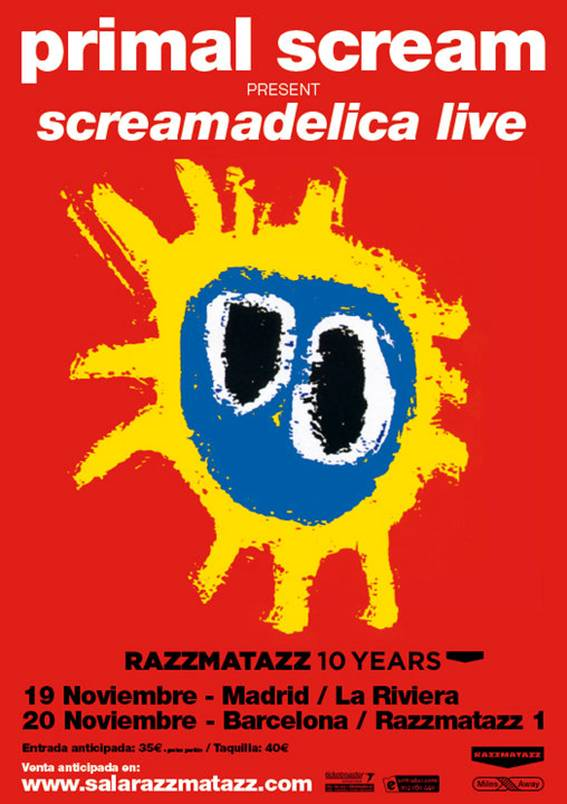 Primal Scream tocando el Screamadelica en Madrid y Barcelona (aniversario del Razz)