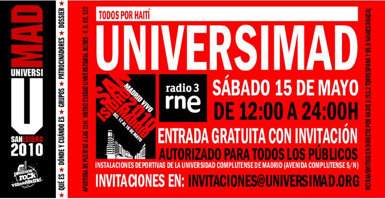 Universimad 2010, La Habitación Roja, Najwa o Ana Curra en la Complutense el sábado 15, día de San Isidro